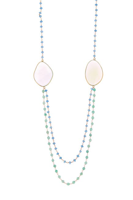 Image of Forever Creations USA Inc. Gold Vermeil Sterling Silver Chalcedony Double Layer Necklace