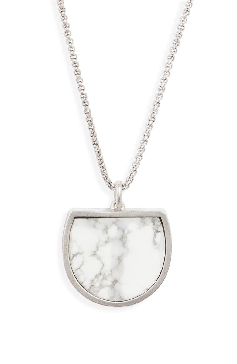 KENDRA SCOTT Luna Pendant Necklace, Main, color, RHODIUM/ WHITE HOWLITE