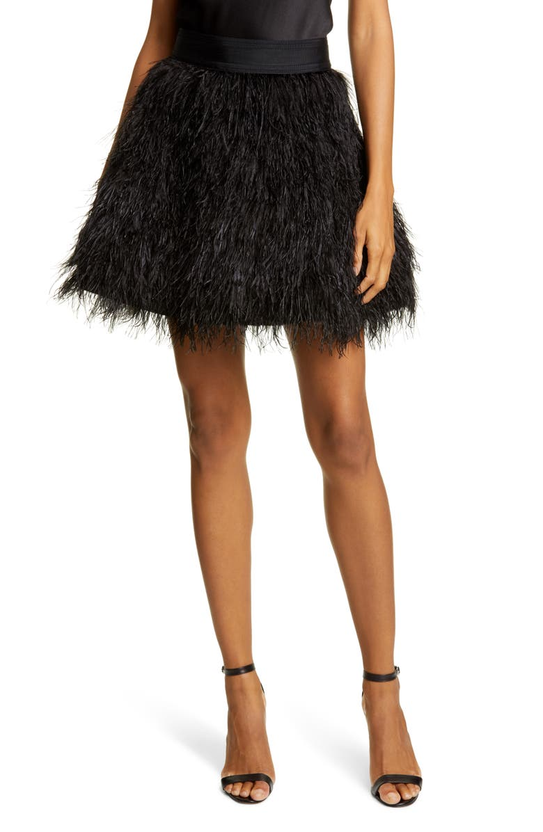 ALICE + OLIVIA Cina Ostrich Feather Skirt, Main, color, BLACK