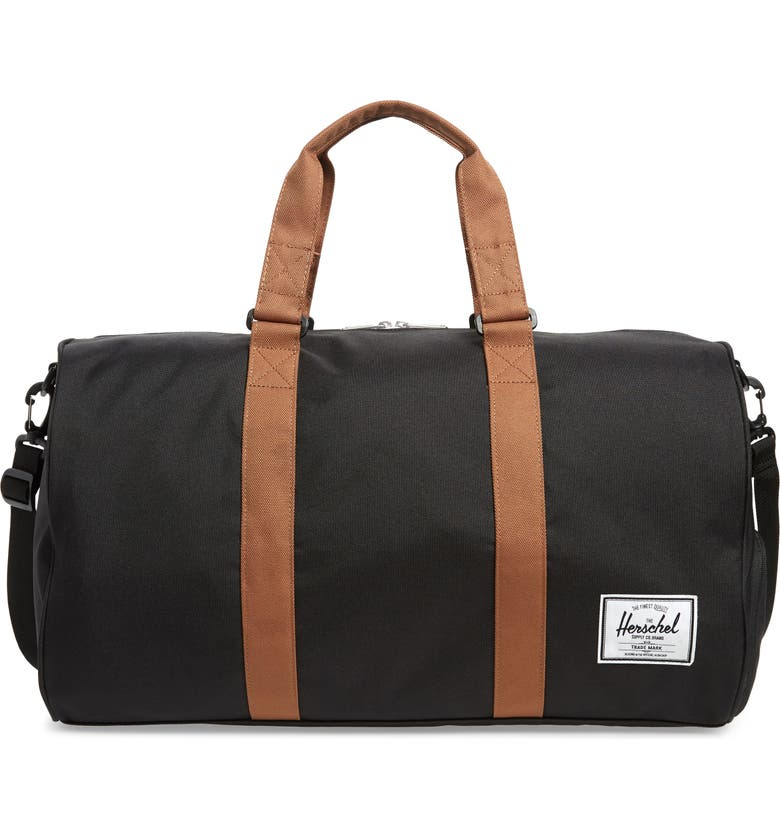 HERSCHEL SUPPLY CO. Duffle Bag, Main, color, BLACK/ SADDLE BROWN