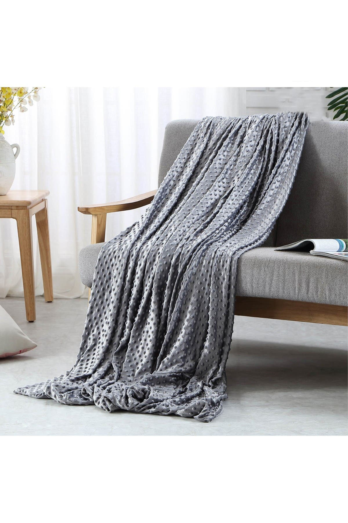 Image of Inspired Home Cozy Tyme Adami Weighted 25lbs Blanket - Grey