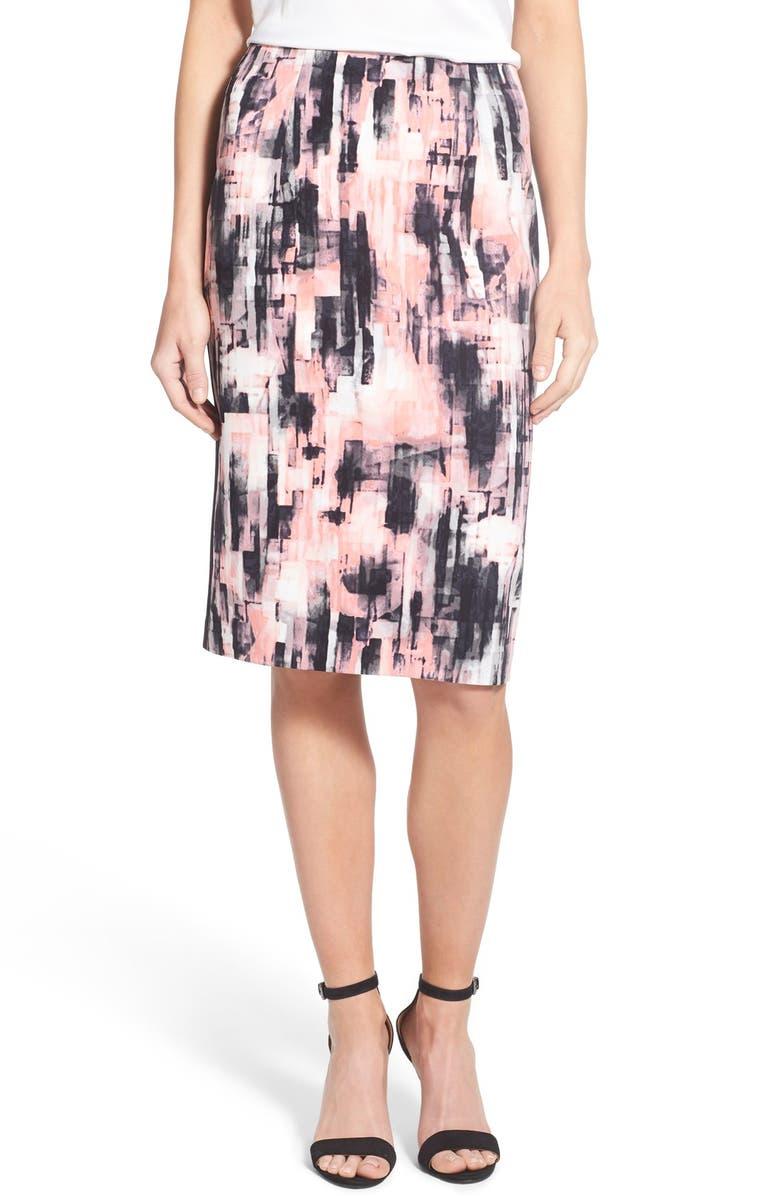 ELLEN TRACY Abstract Print High Waist Pencil Skirt, Main, color, 651