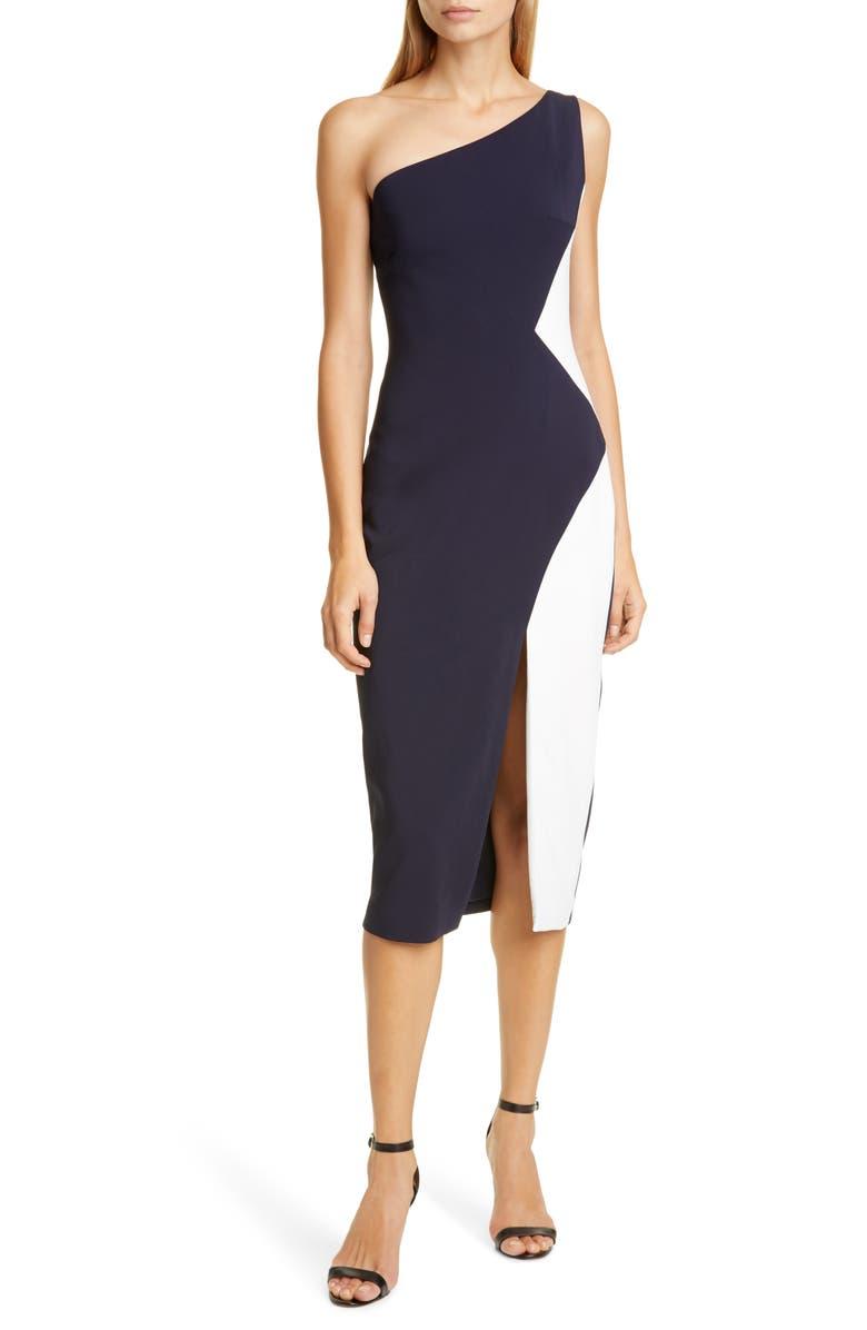 CUSHNIE Colorblock One-Shoulder Midi Sheath Dress, Main, color, 400