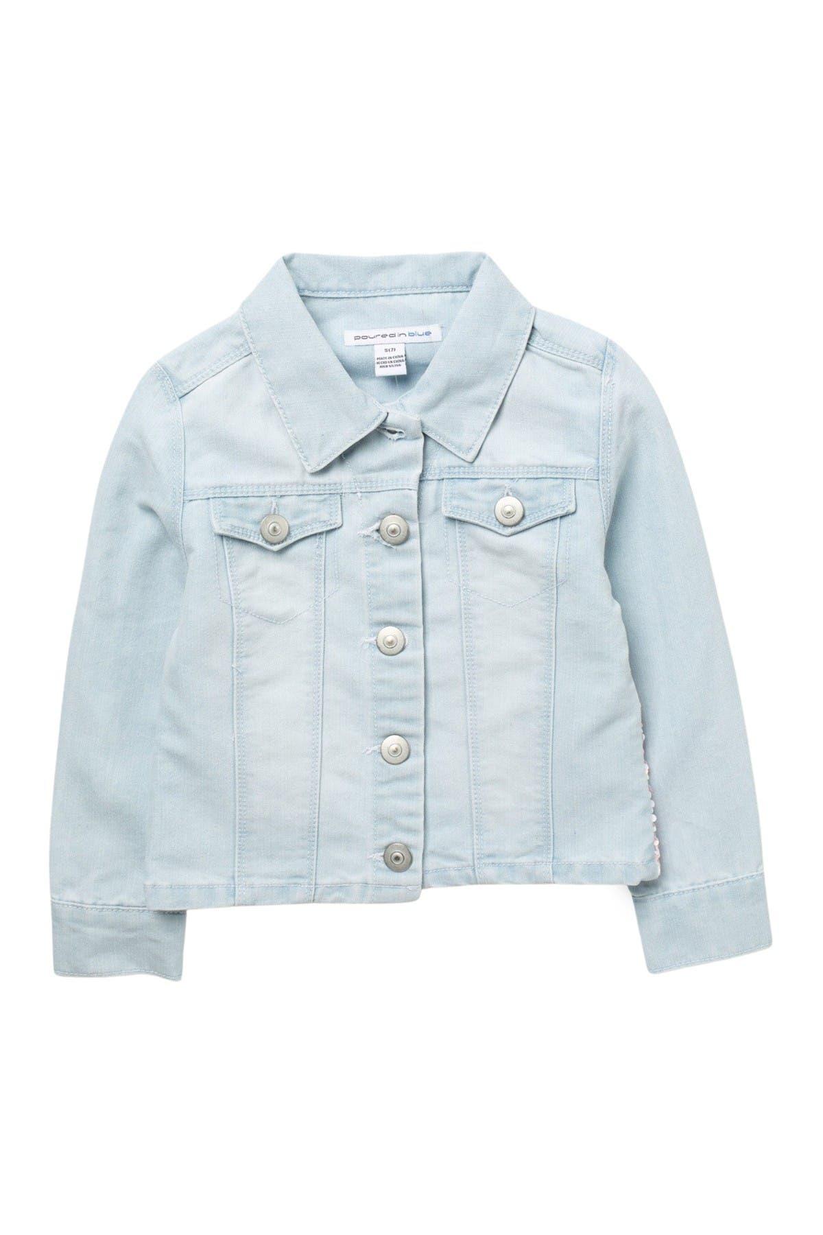 Image of Poured In Blue Flip Sequin Denim Jacket