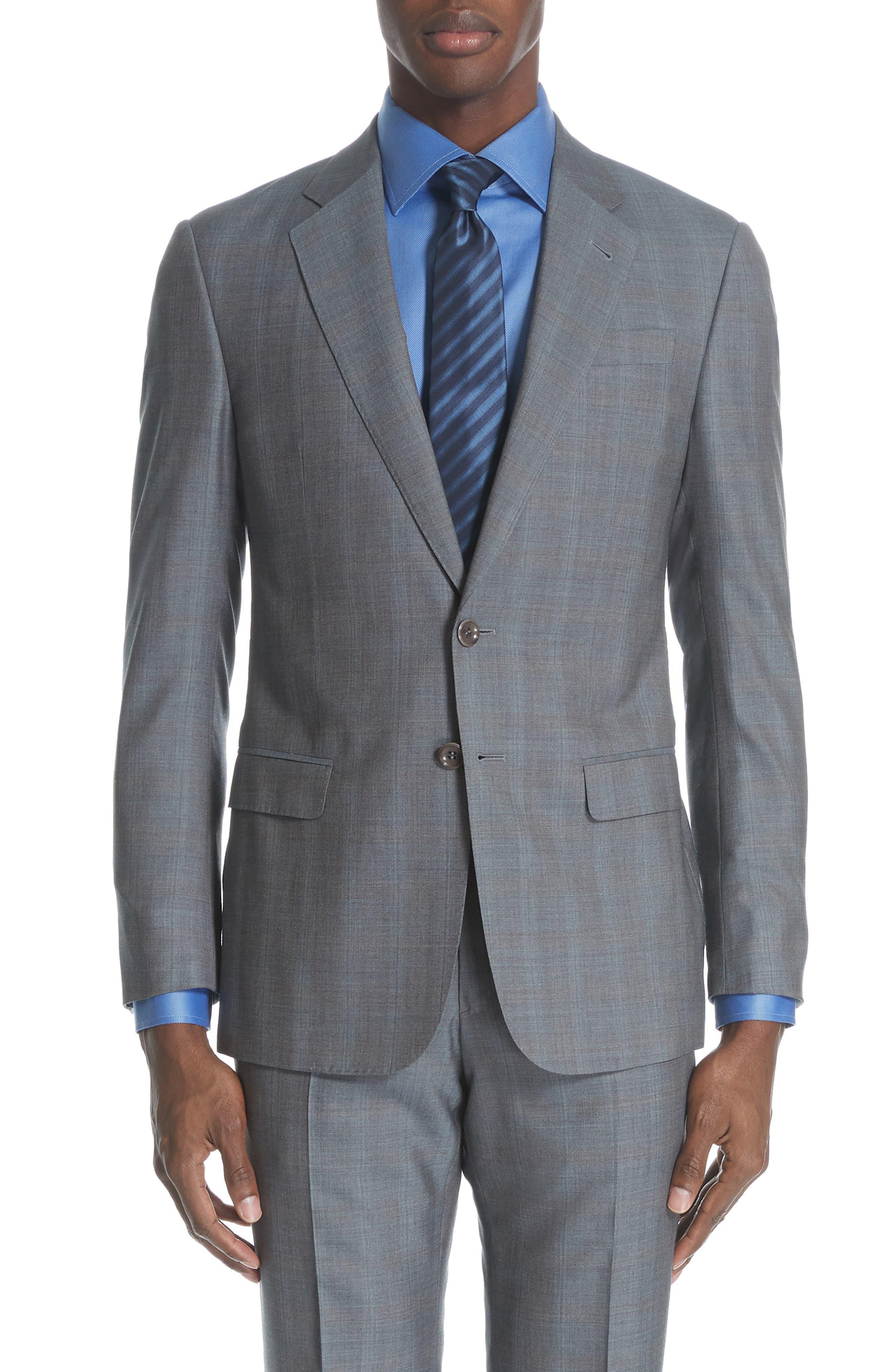 ,                             Classic Fit Plaid Wool & Silk Suit,                             Alternate thumbnail 5, color,                             GREY