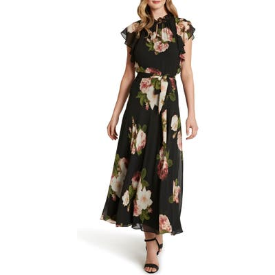 Tahari Ruffle Sleeve Printed Chiffon Maxi Dress, Black