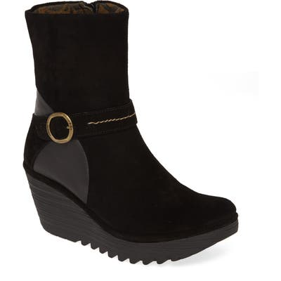 Fly London Yome Wedge Bootie,12.5- Black