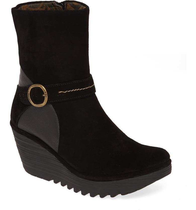 FLY LONDON Yome Wedge Bootie, Main, color, BLACK OIL SUEDE/ LEATHER