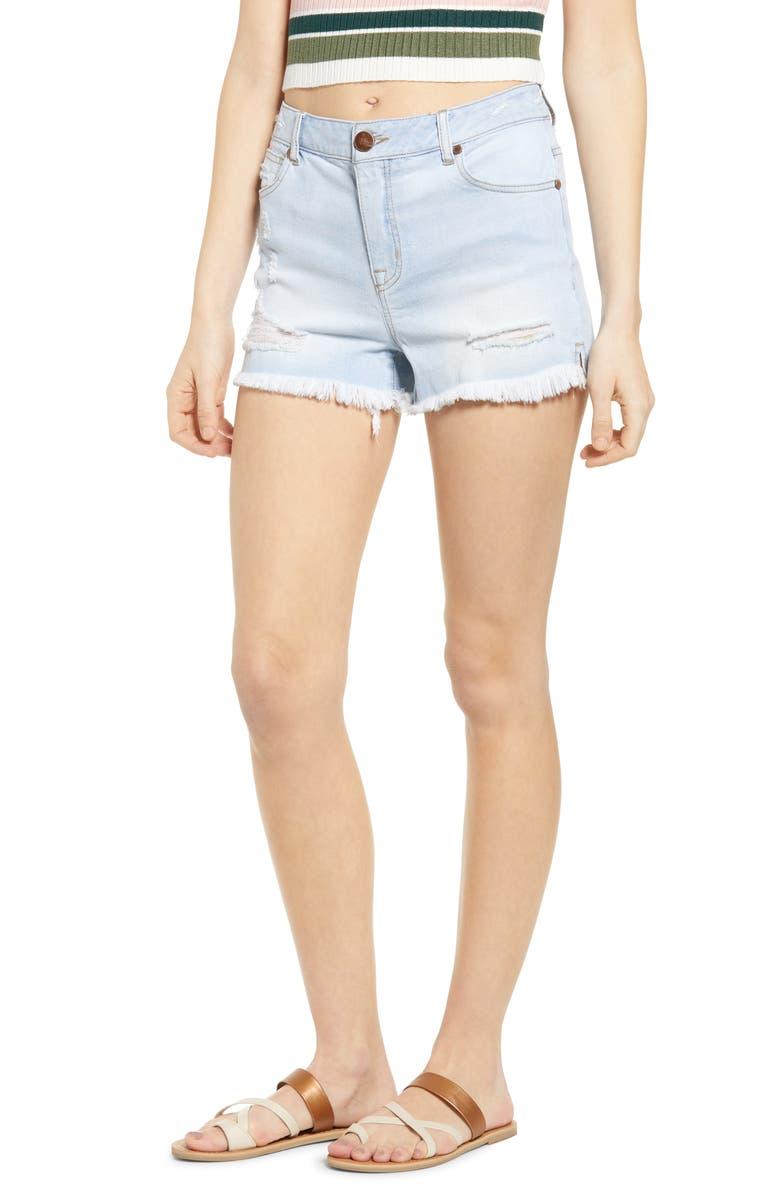 1822 DENIM Raw Hem Denim Shorts, Main, color, ELLA WASH