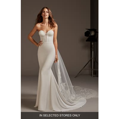 Pronovias Antares Strapless Mermaid Wedding Dress, Size IN STORE ONLY - Ivory