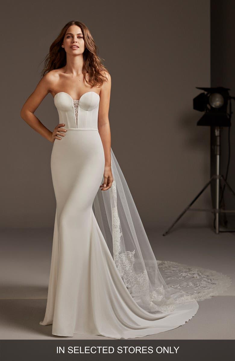 PRONOVIAS Antares Strapless Mermaid Wedding Dress, Main, color, OFF WHITE