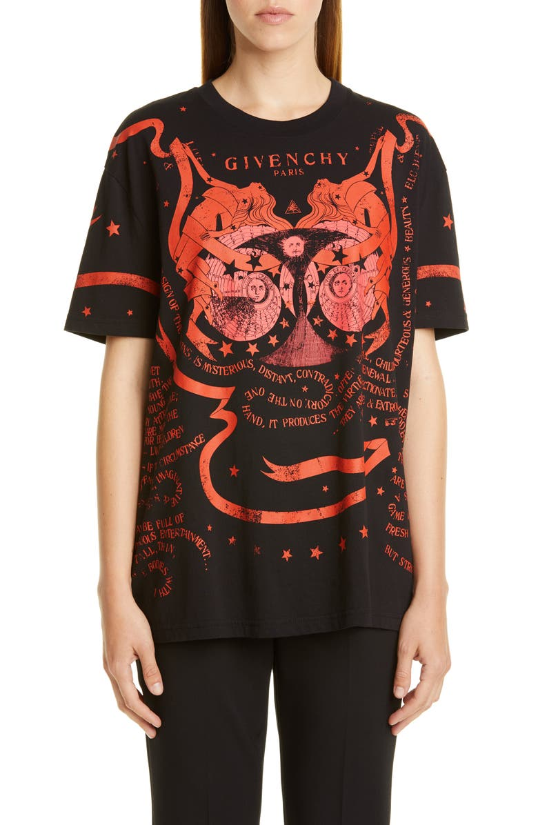 GIVENCHY Gemini Graphic Tee, Main, color, BLACK/ RED