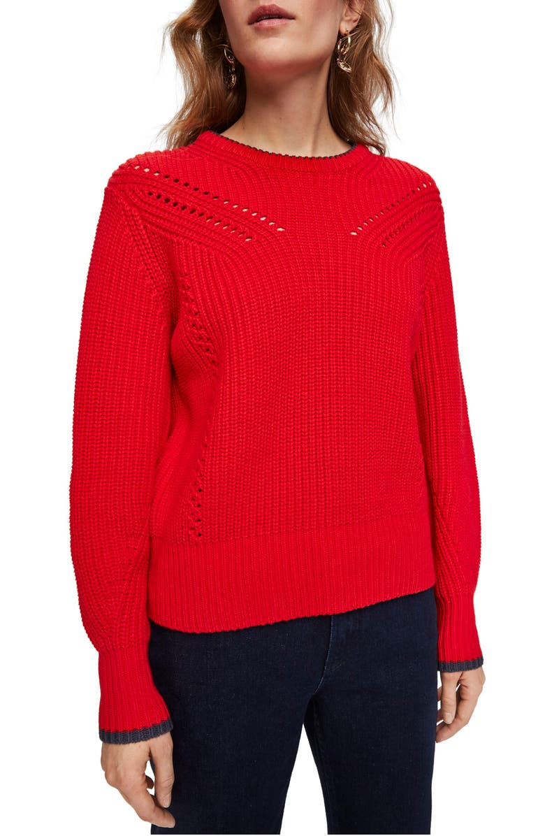 SCOTCH & SODA Balloon Sleeve Pullover, Main, color, TOMATO RED