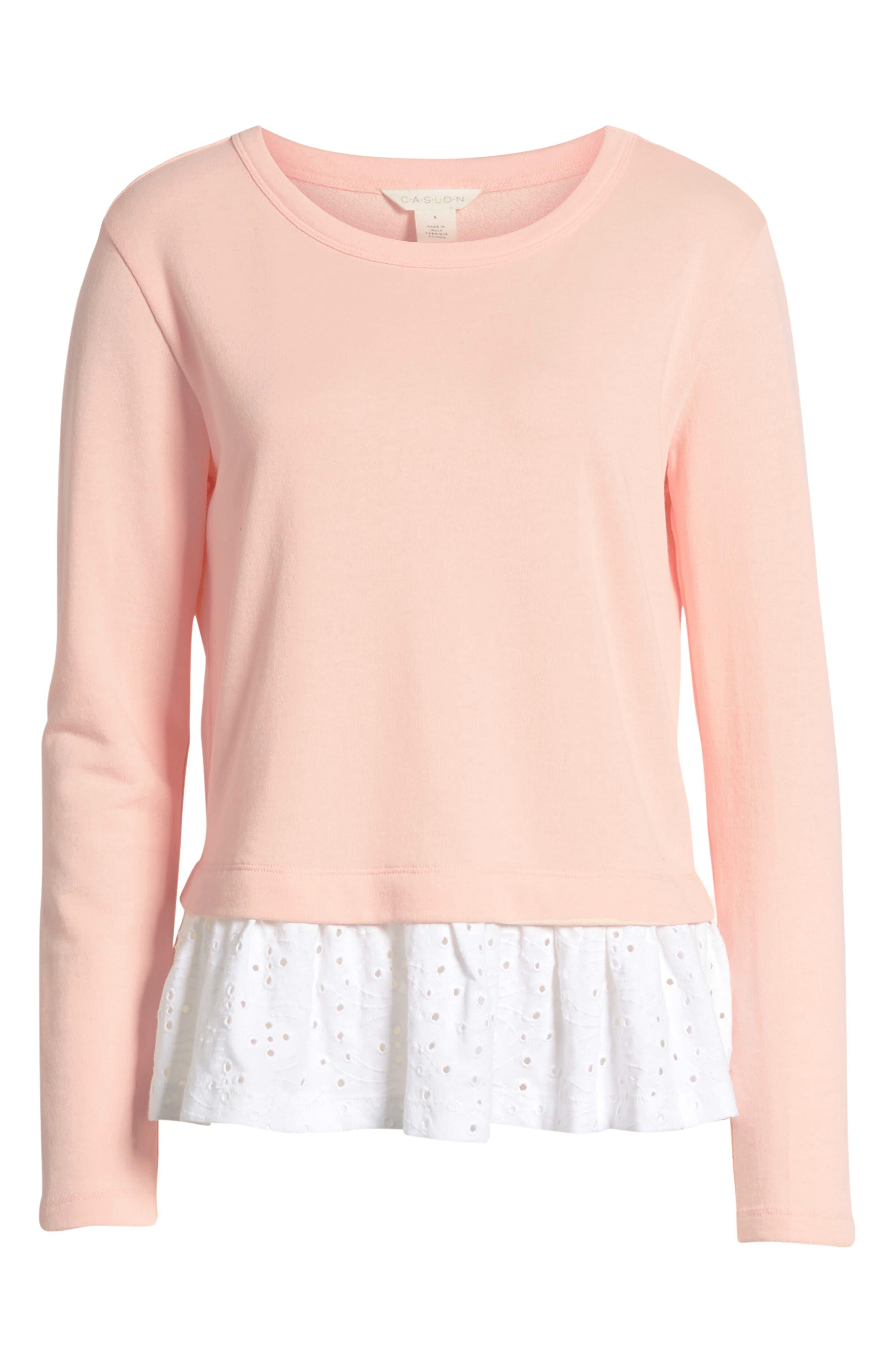 ,                             Eyelet Peplum Sweatshirt,                             Alternate thumbnail 6, color,                             PINK- WHITE