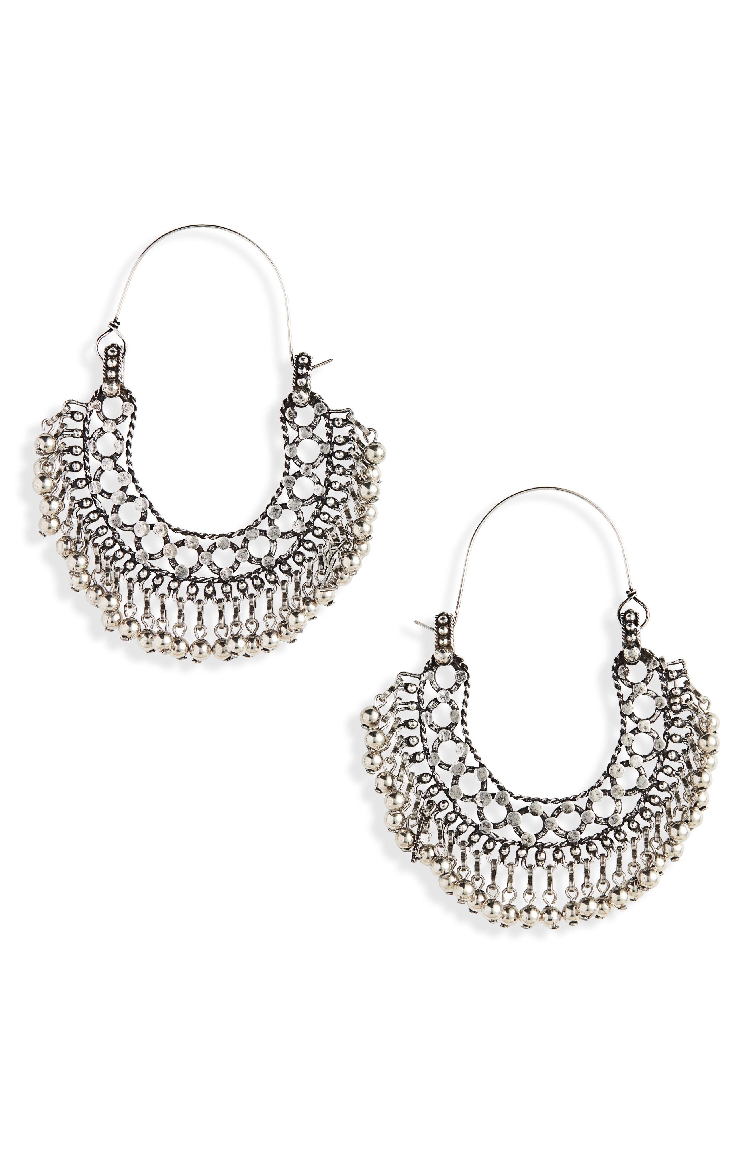 Bell Statement Earrings, Main, color, ARGENT OXIDE