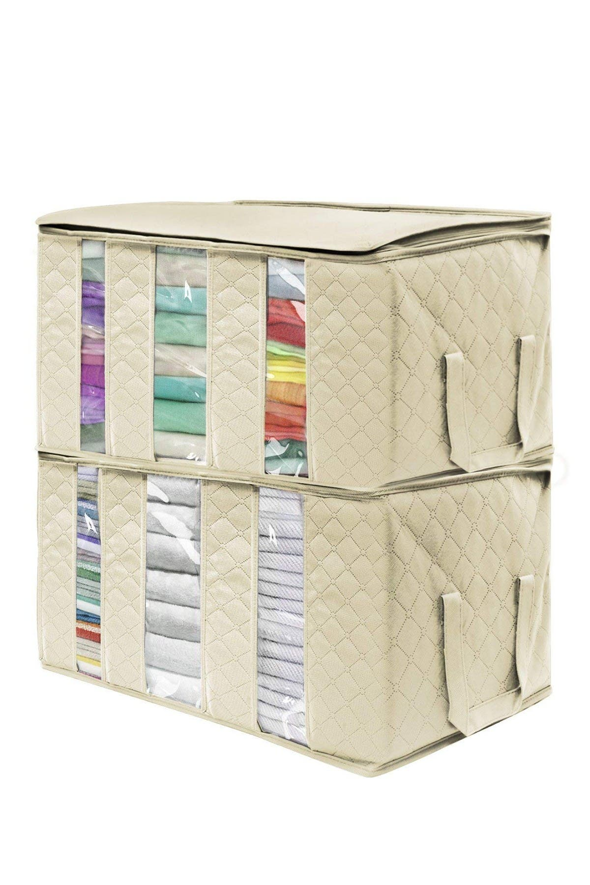 Image of Sorbus Beige Foldable Fabric Storage 3 Section Organizer Bag - Pack of 2