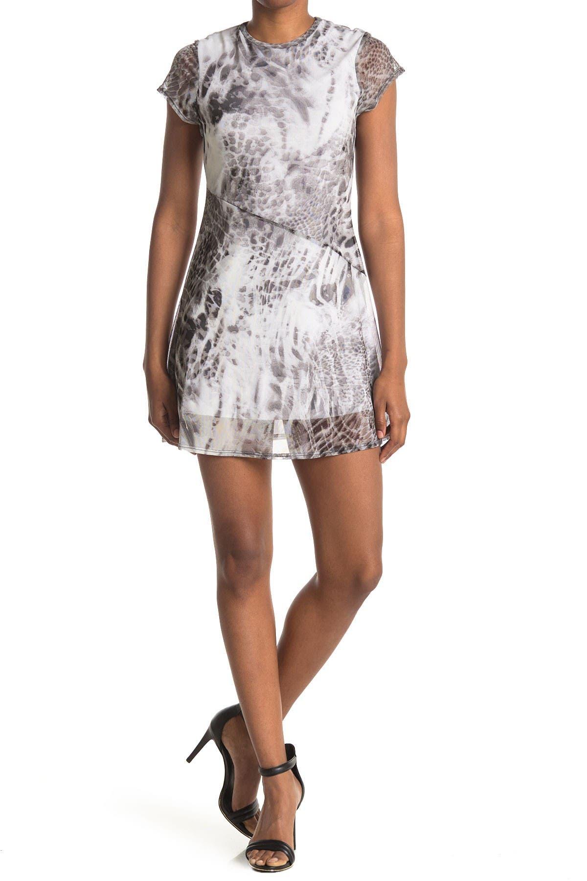 Image of Velvet Torch Mesh Cap Sleeve Mini Dress