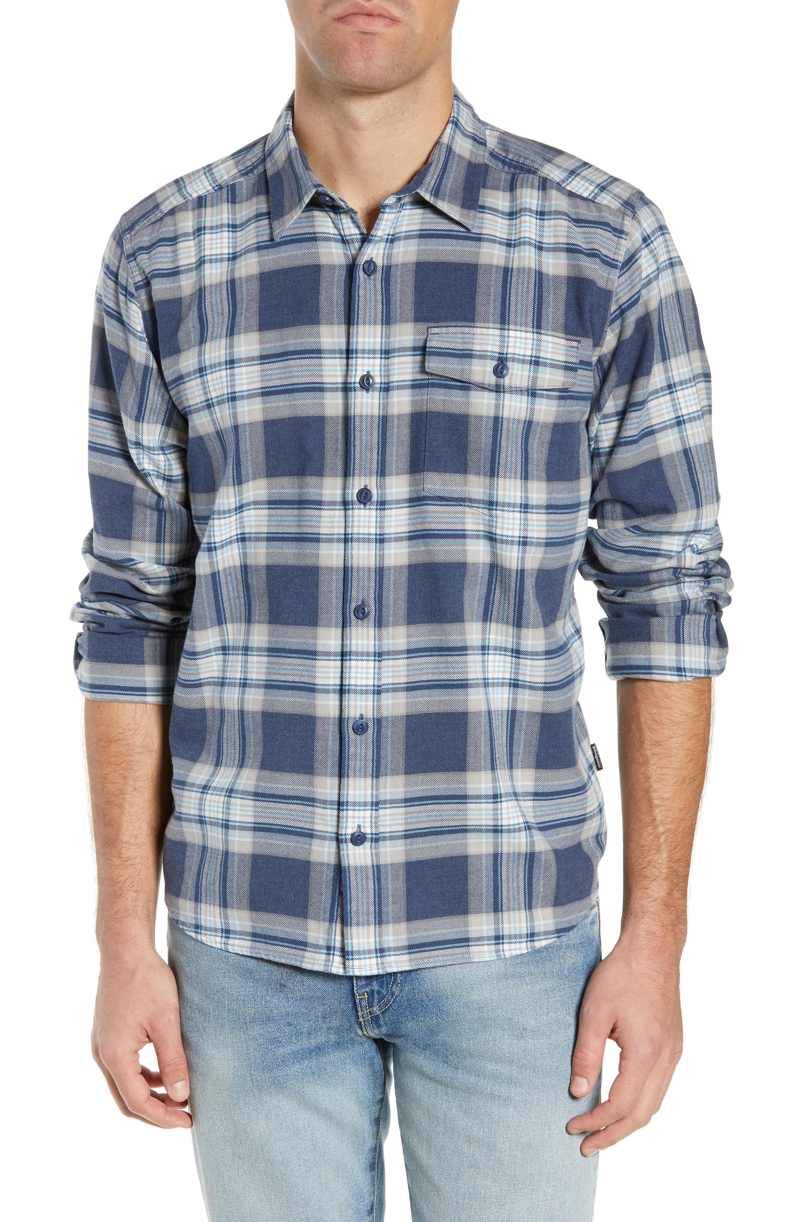 Patagonia Regular Fit Organic Cotton Flannel Shirt, Blue