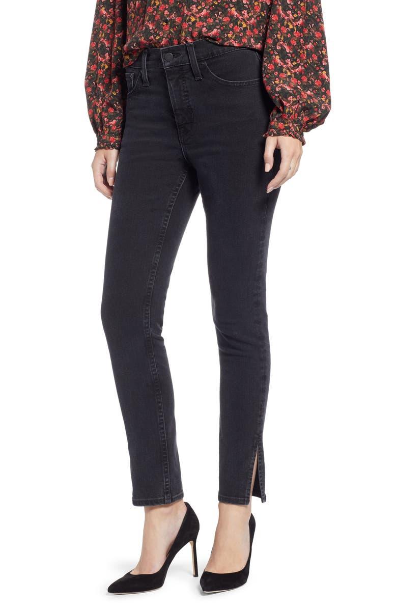 SOMETHING NAVY Slit Hem Skinny Jeans, Main, color, 001