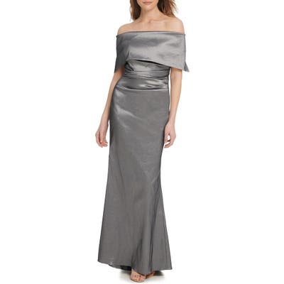 Vince Camuto Off The Shoulder Taffeta Gown, Grey