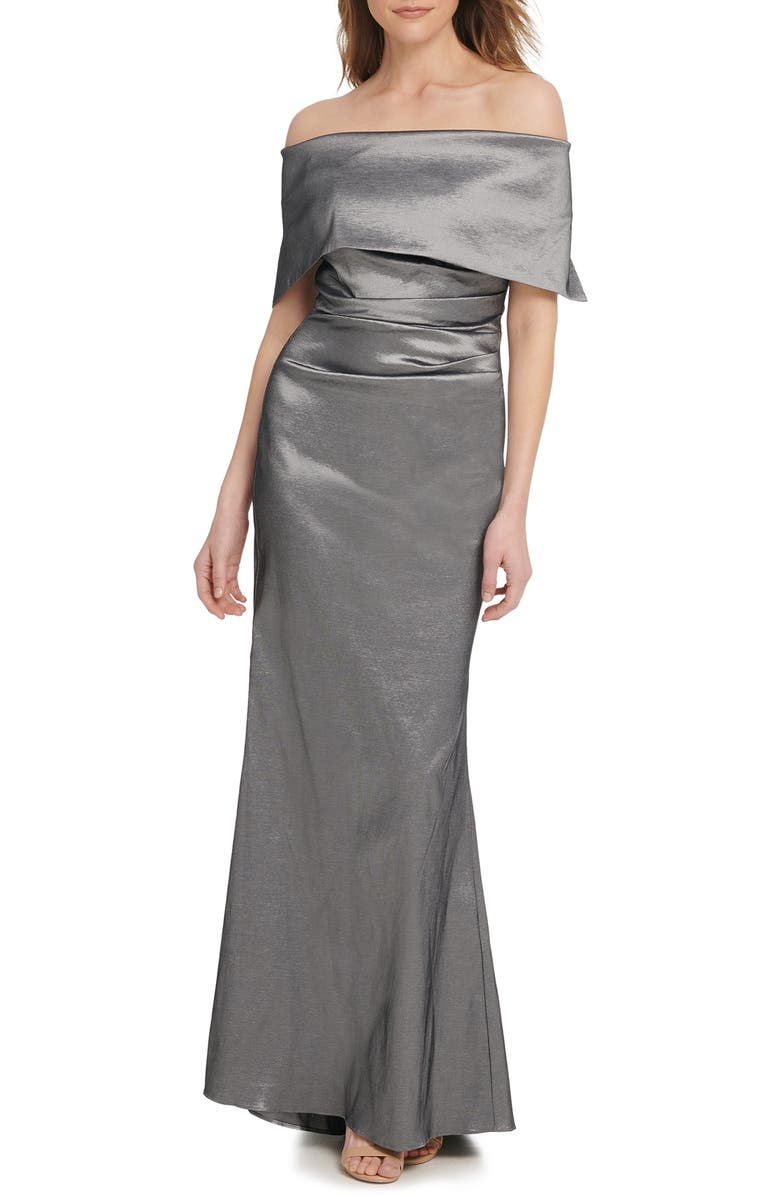 VINCE CAMUTO Off the Shoulder Taffeta Gown, Main, color, GUNMETAL