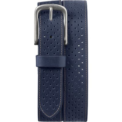 Trask Denton Perforated Leather Belt, Navy