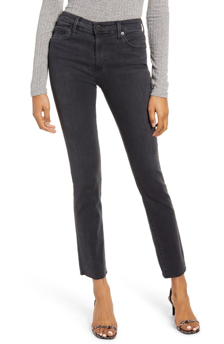 AG Mari High Waist Raw Hem Slim Straight Leg Jeans, Main, color, PRESSURE