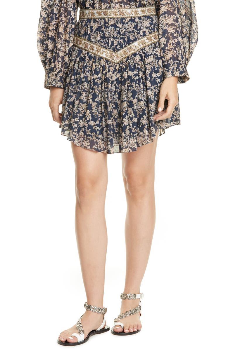 ISABEL MARANT ÉTOILE Valerie Pleated Miniskirt, Main, color, MIDNIGHT