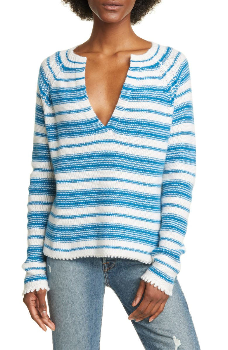 ALLUDE Serafino Hand Knotted Cashmere Sweater, Main, color, IVORY/ COBALT