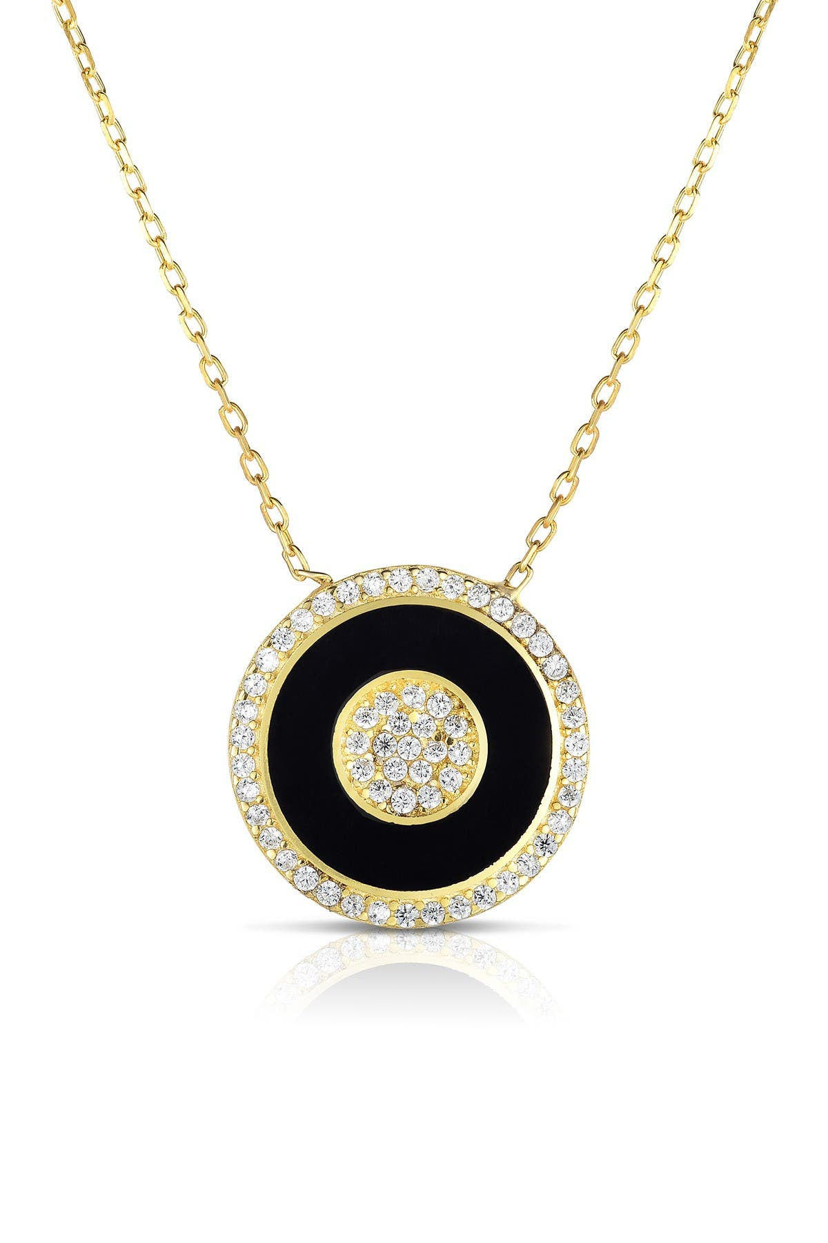 Sphera Milano 18K Yellow Gold Plated Sterling Silver Pave CZ Black Bullseye Pendant Necklace at Nordstrom Rack