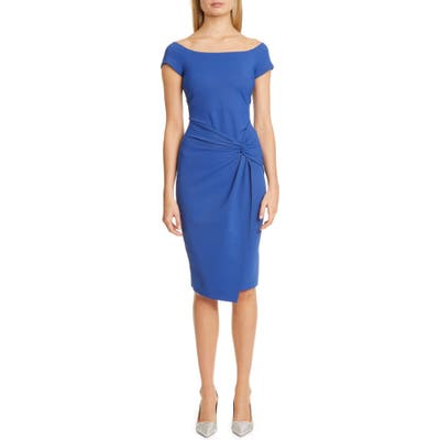 Chiara Boni La Petite Robe Mena Twist Front Cocktail Dress, US - Blue