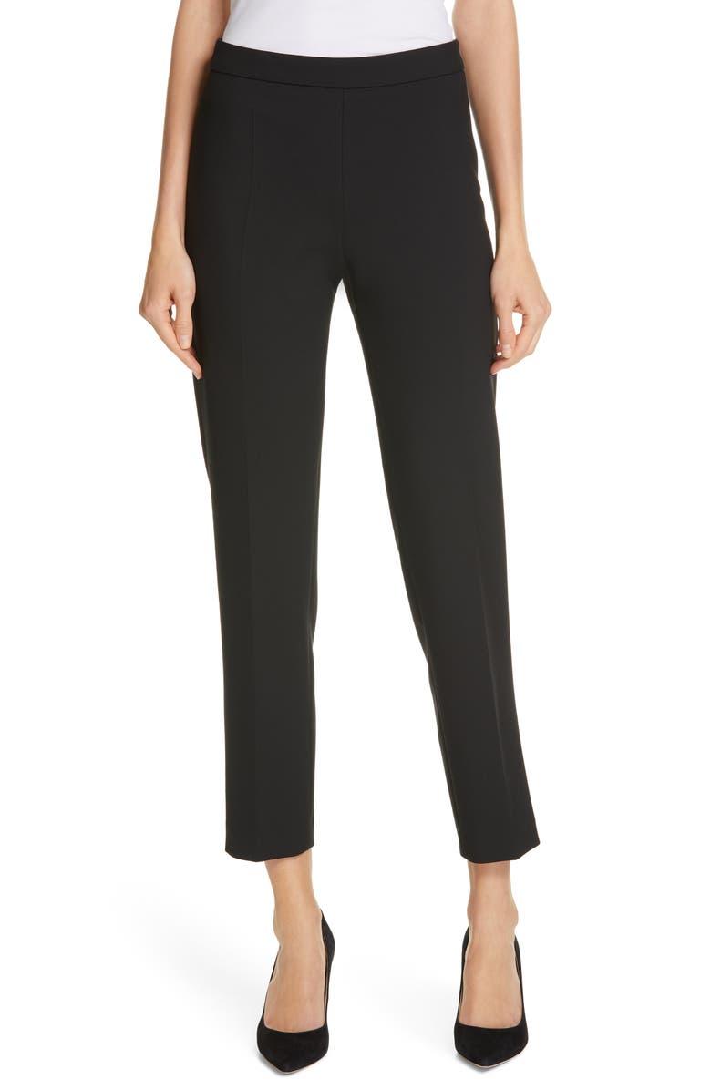 BOSS Tiluna Soft Stretch Side Zip Ponte Trousers, Main, color, 001