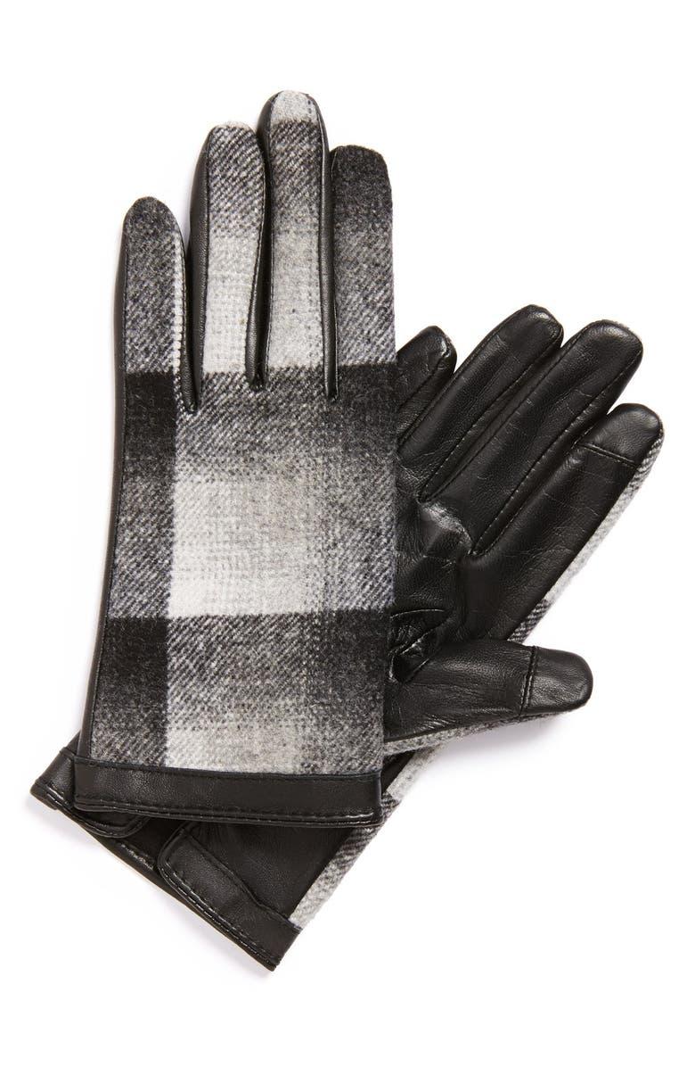 HALOGEN<SUP>®</SUP> Plaid Tech Gloves, Main, color, 001