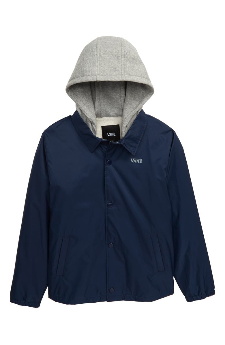 VANS Riley Water Resistant Hooded Jacket, Main, color, DRESS BLUES