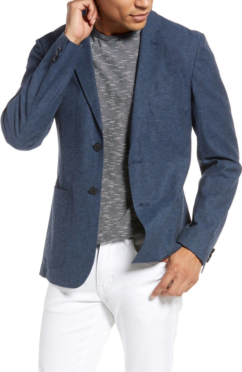 1901 Extra Trim Fit Chambray Sport Coat, Main, color, NAVY BLAZER CHAMBRAY