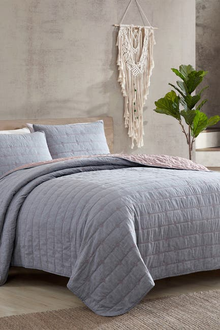 Image of Modern Threads 3-Piece Everly Embroidered Quilt Set Grey/Rose - King