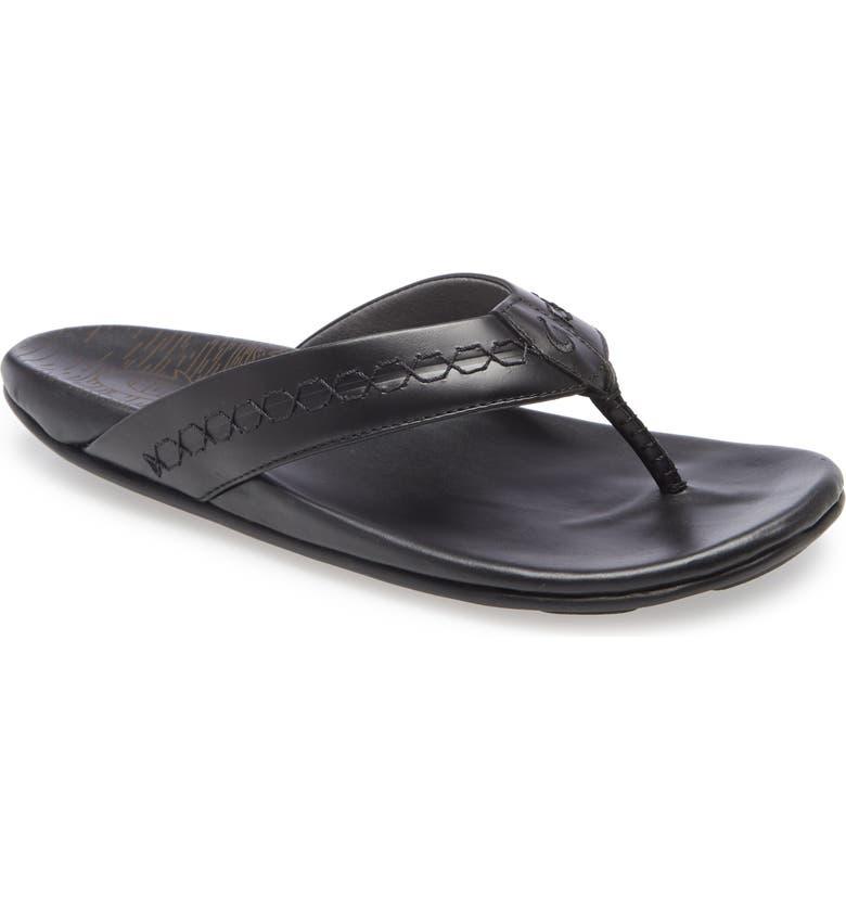 OLUKAI Honolii Flip Flop, Main, color, BLACK LEATHER