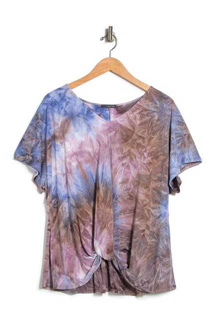 Image of TUA Tie Dye Twisted Hem T-Shirt