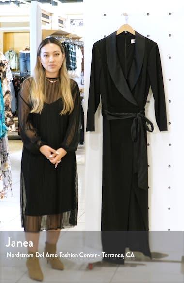 Tuxedo Faux Wrap Long Sleeve Gown, sales video thumbnail