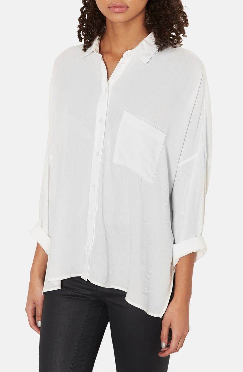 TOPSHOP Oversized Crinkle Shirt, Main, color, 100