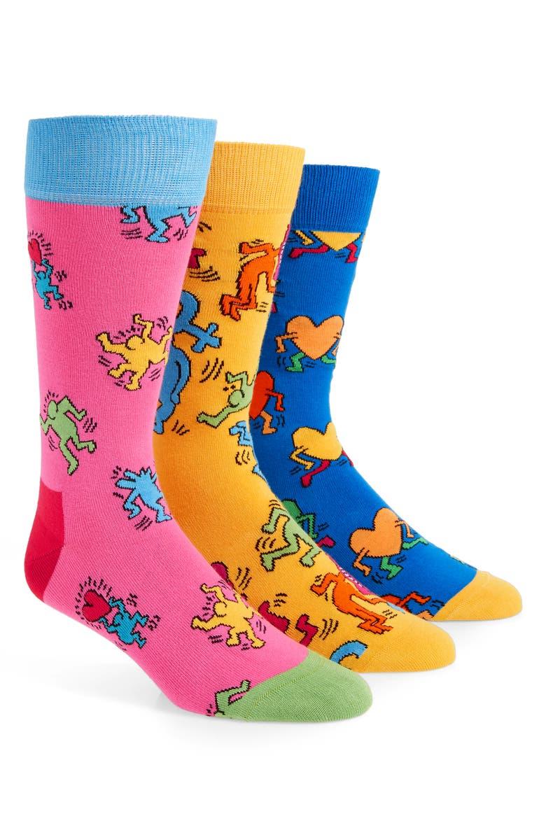 HAPPY SOCKS Keith Haring 3-Pack Sock Gift Set, Main, color, 459