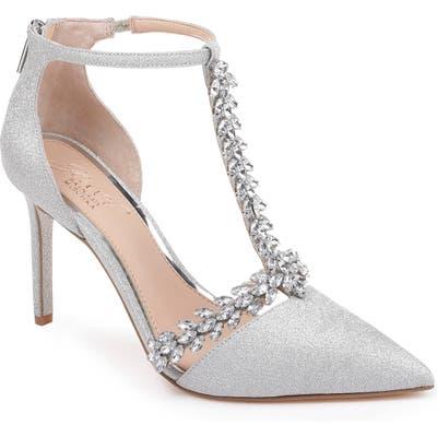 Jewel Badgley Mischka Meena Crystal Embellished T-Strap Pump- Metallic