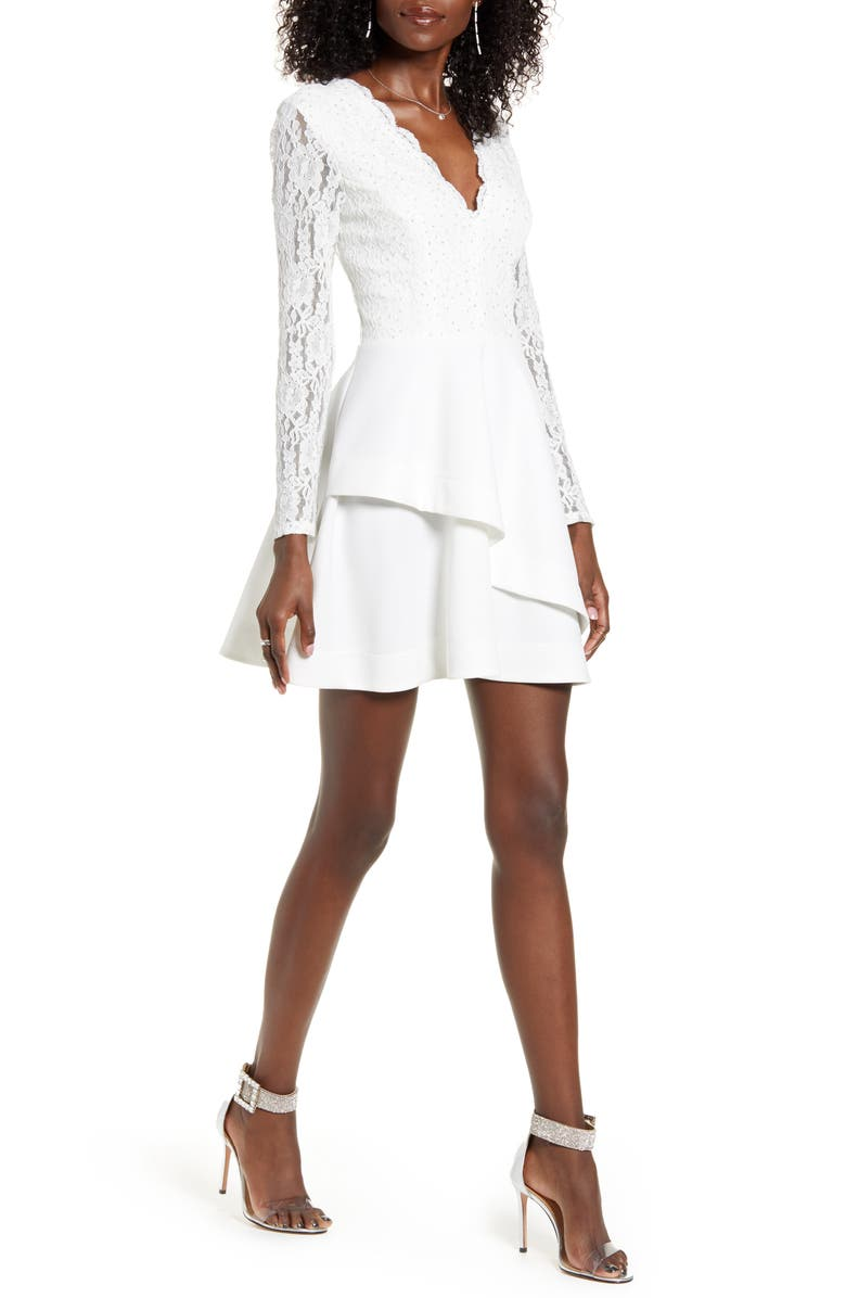 SPEECHLESS Scallop Lace Crystal Detail Long Sleeve A-Line Dress, Main, color, IVORY