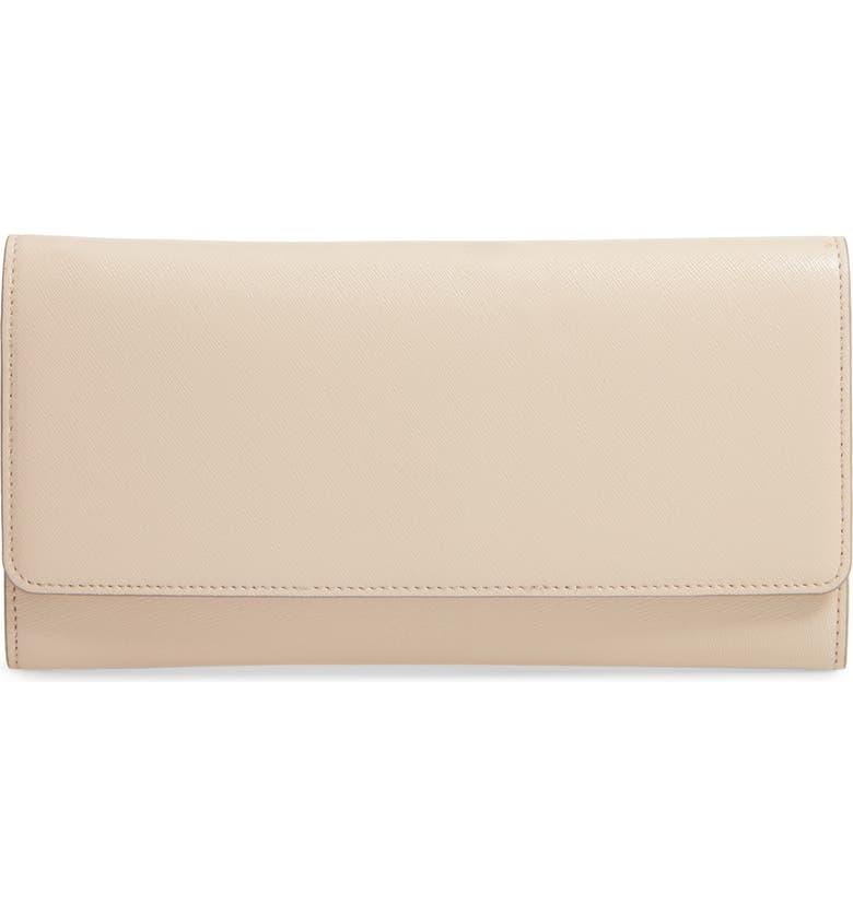 NORDSTROM Selena Leather Clutch, Main, color, BEIGE SMOKE