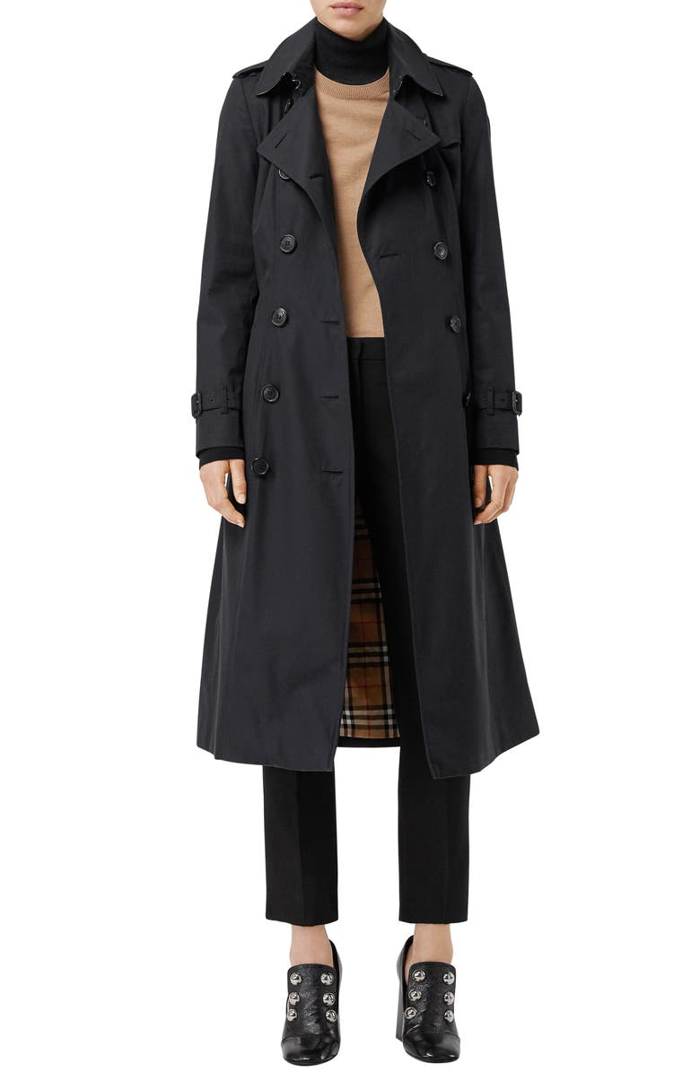 BURBERRY Slim Fit Long Heritage Chelsea Trench Coat, Main, color, DARK MIDNIGHT