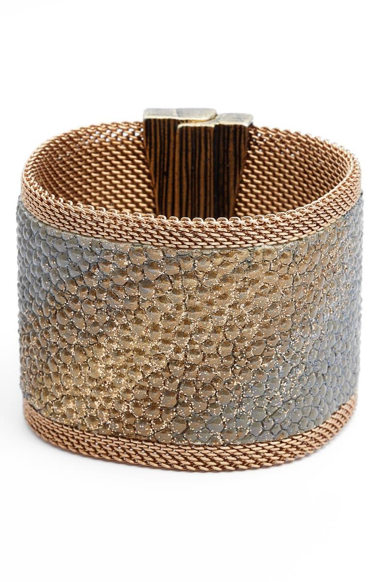 CYNTHIA DESSER Wide Stingray Bracelet, Main, color, GREY/ GOLD