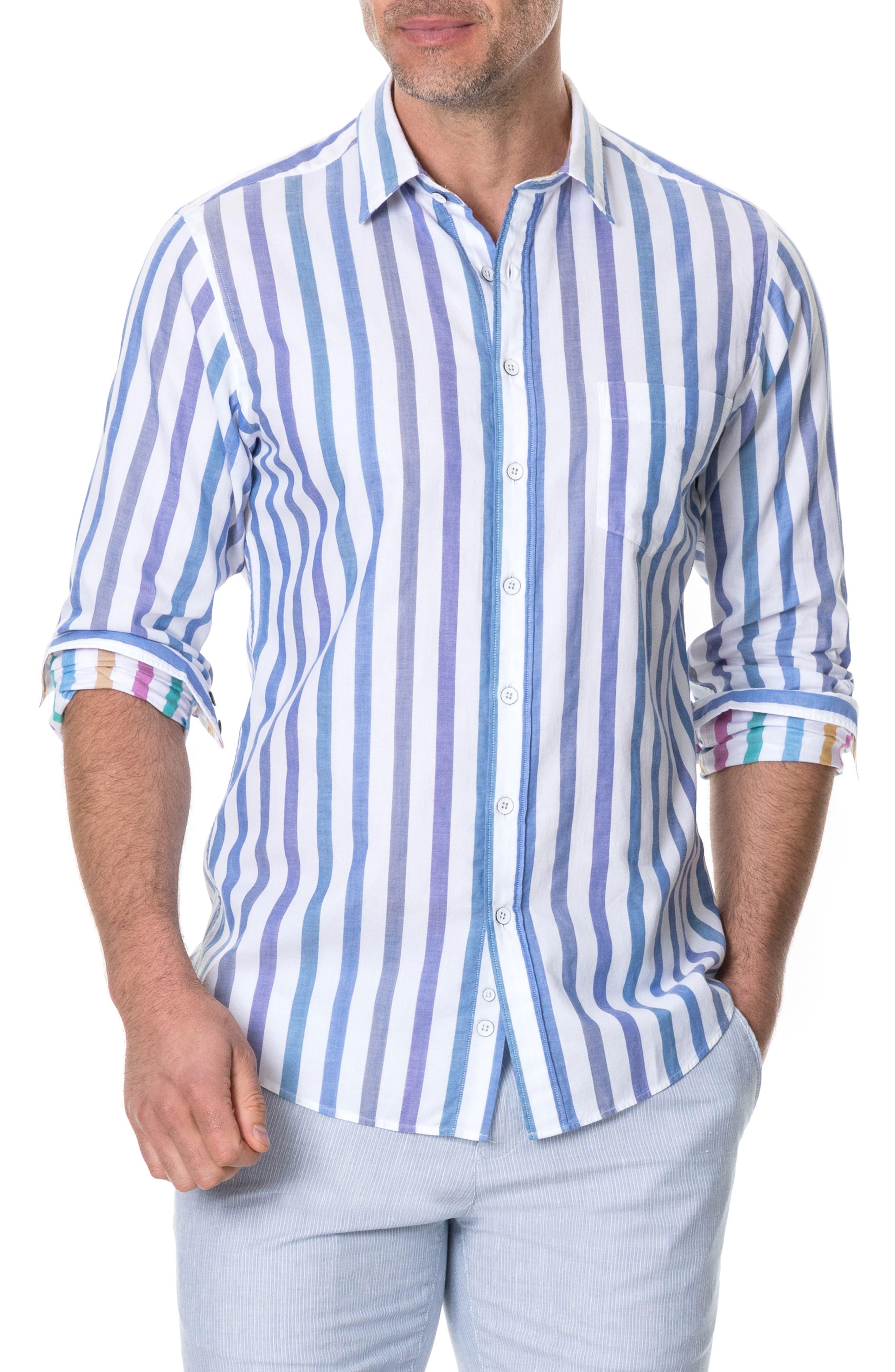 Haymarket Regular Fit Stripe Sport Shirt, Main, color, CORAL REEF