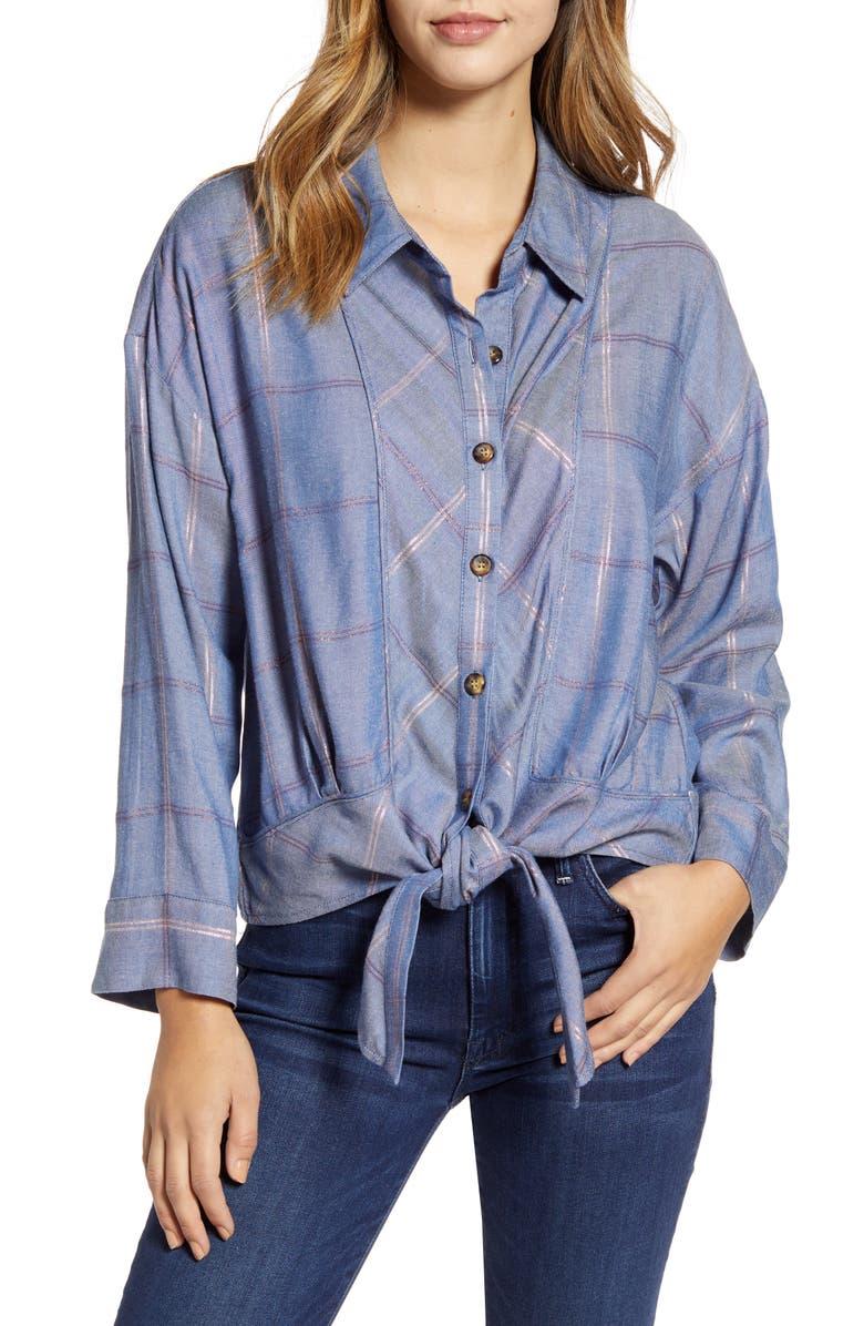 WIT & WISDOM Tie Front Shirt, Main, color, BLUE