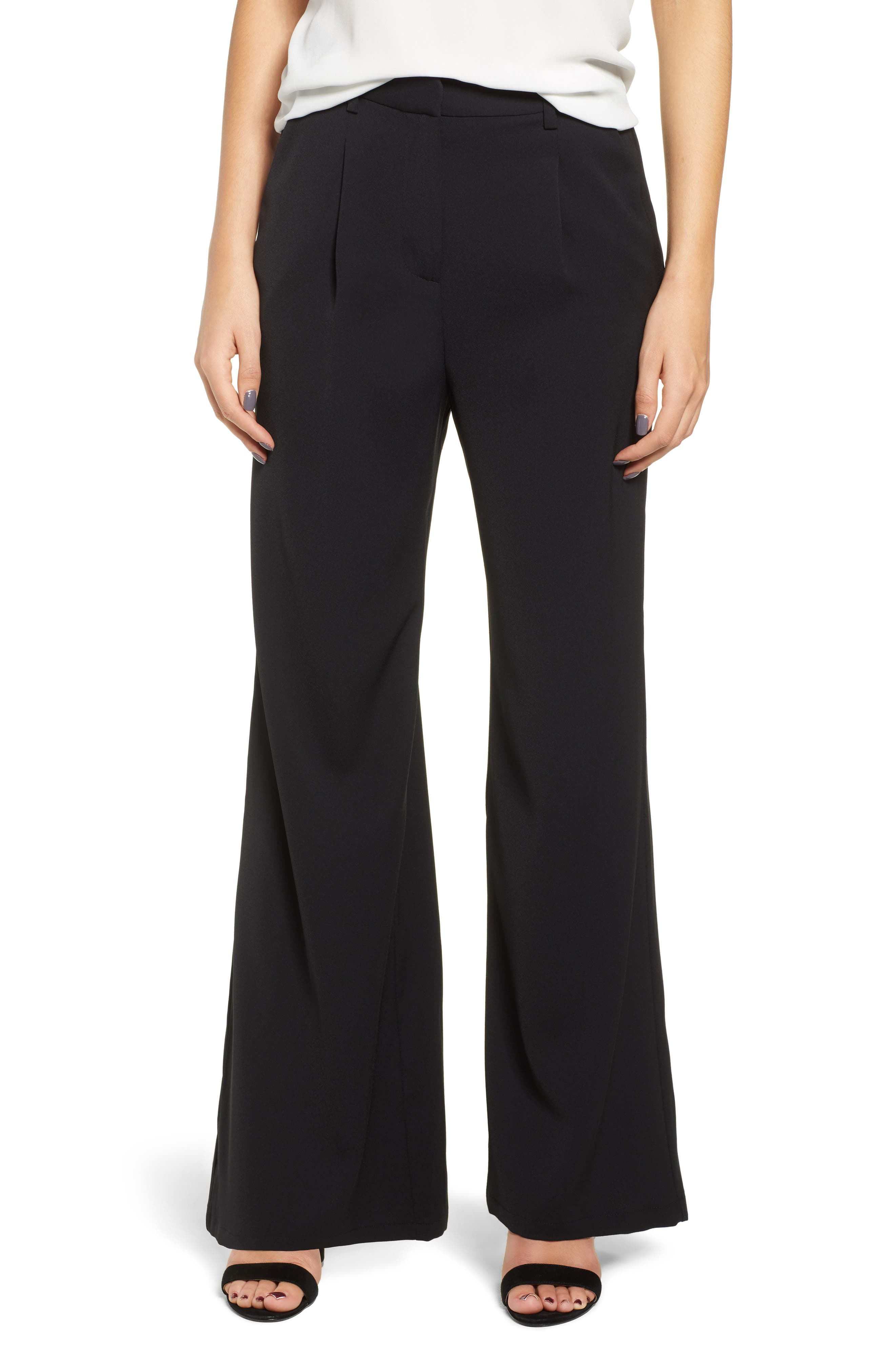 High Waist Flare Pants, Main, color, 001