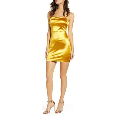 All In Favor Satin Slipdress, Yellow